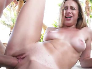 Facial For The Pretty Blonde Slut Poolside