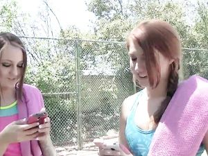 Tennis Coach Fucking A Young Redhead Outdoors