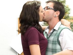 Pussy Of A Brunette Schoolgirl Fucked On The Desk