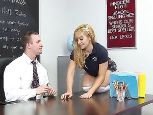 Facial Cum Shot For A Blonde Student In The Classroom