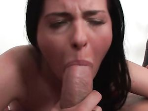 Brunette Hottie Banged By A Huge Dong Anally