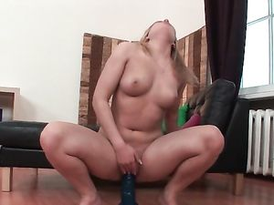 Shoving A Dildo Inside Her Dripping Wet Pussy