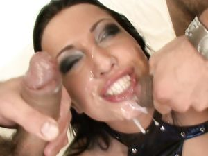 Double Anal Fucking Makes The Leather Slut Moan For More