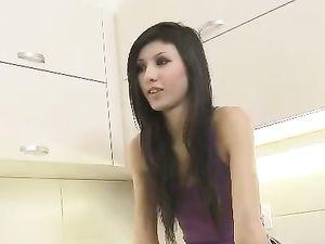 Skinny Brunette Banged On The Kitchen Floor