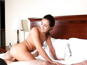 Riding Stiff Dong Is Very Pleasing For A Brunette Babe