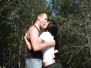 Slut In The Woods Fucked In Her Young Pussy