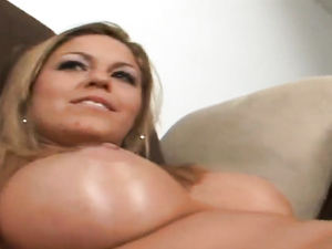 Busty Blonde With A Tongue Piercing Enjoys A Big Rod