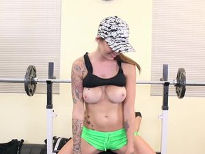 Tattooed Babe Rides A Man In The Gym After A Workout
