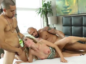 Pretty Blonde Cutie Gets Dominated By Two Hard Cocks