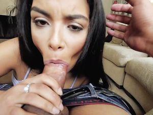 Maya Bijou Sucks A Cumshot From His Cock